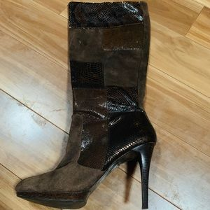 Long brown leather snake print and suede boot